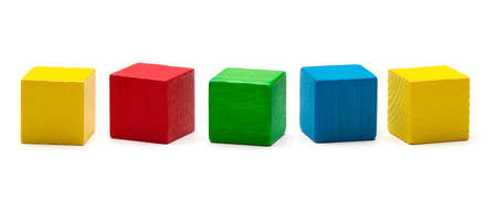 toy blocks, multicolor wooden game cube, blank boxes isolated white background
