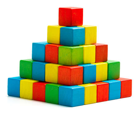 toy blocks pyramid, multicolor wooden bricks stack isolated white background