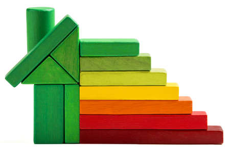 house energy efficiency rating, green home save heat and ecology  Toy blocks isolated white background