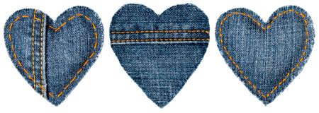 Jeans Heart Shape Patch Object met steken Seam, decoratieve Stof Joint witte achtergrond, Valentijnsdag Textiel Icon