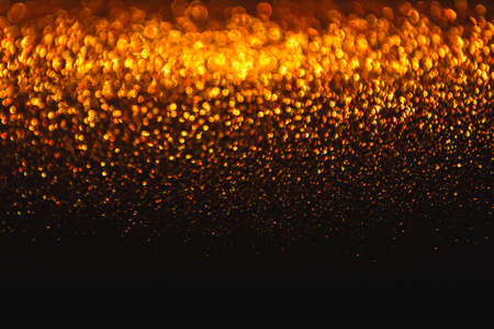 Lights Background, Abstract Gold Blur Holiday Light, Christmas Golden Glowing Bokeh Dots Banco de Imagens