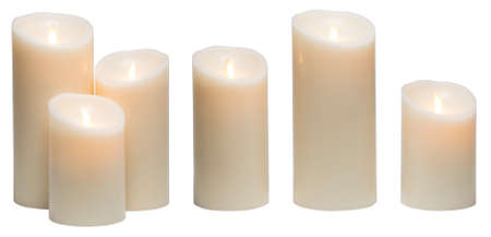 Candle Light, White Wax Candles Lights Isolated on White Background, clipping path