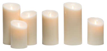 Candle Light, White Wax kaarsen lampjes op witte achtergrond, het knippen weg Stockfoto