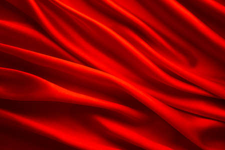 Silk Fabric Background, Red Satin Cloth Waves Texture