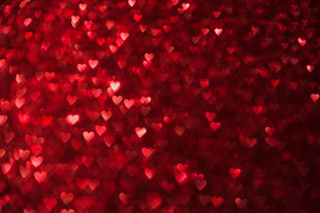 Hearts Lights Background, Heart Shape De Focused Red Sparkles