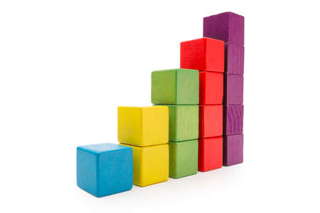 Toy Blocks Infographic Chart Stair Bar, Multicolor Kids Bricks