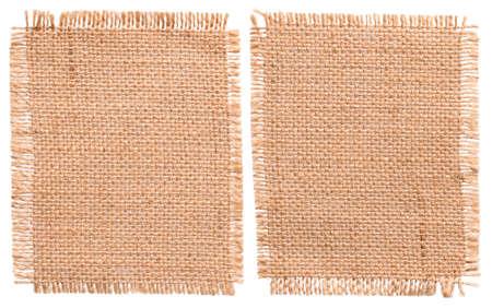 Jute Sacking Doek Pieces, Rustic Linnen Bagging Fabric, Sack Patch Geïsoleerde over Wit Stockfoto - 64576403