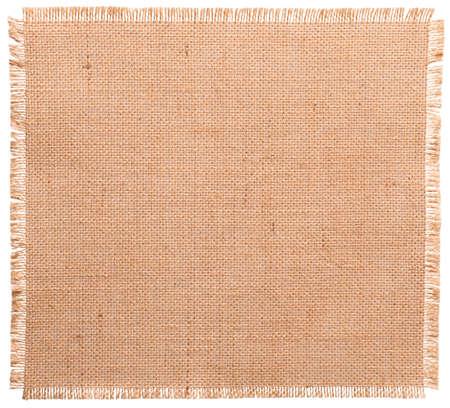 黄麻布生地が破れたエッジ、白で分離された袋布パターン