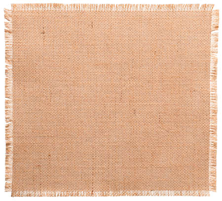 Burlap Fabric Torn Edges, Sack Cloth Pattern Isolated over White