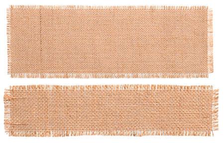 Burlap Fabric Patch Stuk, Rustieke Hessian Sack Cloth, Geïsoleerde Gescheurde Stukken Stockfoto