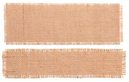 Burlap Fabric Patch Piece, Rustic Hessian Sack Cloth, Isolated Torn Pieces Archivio Fotografico