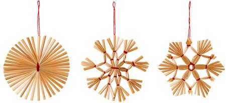 Paille Snowflake Décoration Suspendre, Strawy Snow Flake de Noël Suspendre Toy Set, isolé blanc