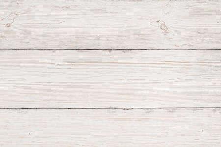 木材の背景、白い木目のテクスチャ、古いストライプの板テーブル