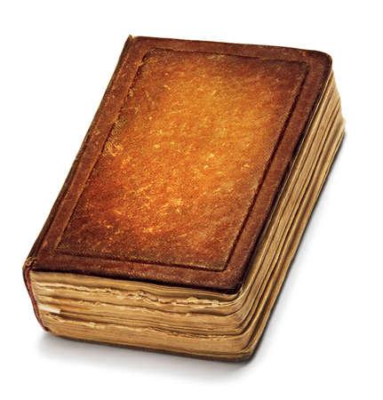 古い本の表紙、ヴィンテージレザー本正面テクスチャ、白で分離された古代のブラウン ペーパー 写真素材