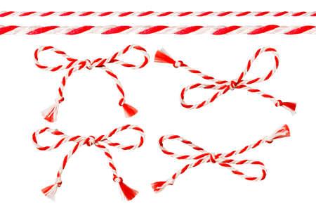 赤白い糸、ひもロープ装飾、ツイスト スレッド コード分離結び目の弓します。 写真素材