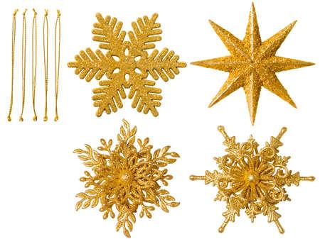 Kerstmissneeuwvlok geïsoleerd Ornament, opknoping sneeuwvlok decoratie, Nieuwjaar speelgoed over witte achtergrond Stockfoto