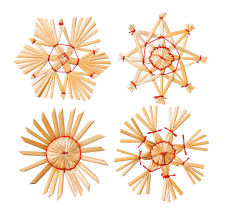 Christmas Snowflake Star Straw Hanging Decoration, Xmas Tree Hang Toy Set Isolated over White