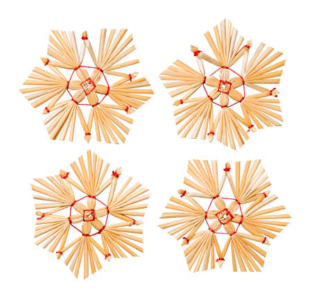 Christmas Snowflake Straw Hanging Toys, Xmas Tree Decoration, wit geïsoleerd Stockfoto