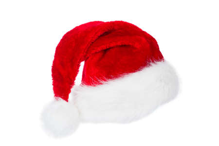 Santa Claus Hat, Red Christmas Hat Isolated over White Background