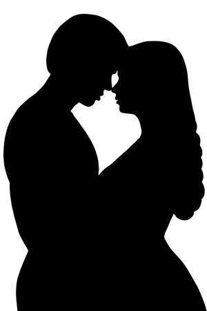 Couple Kiss Silhouette, Man and Woman Kissing in Heart Shape Contour