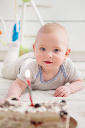 Baby and Cake, Kid Celebrating Birthday Portrait, Happy Smilling Infant Child