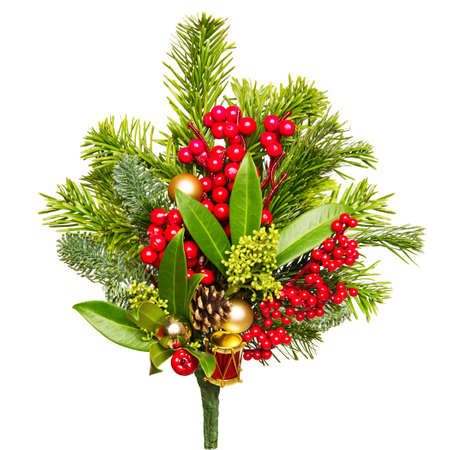 Christmas Bouquet Isolated over White Background, Xmas Red Berries and Green Leaves Imagens