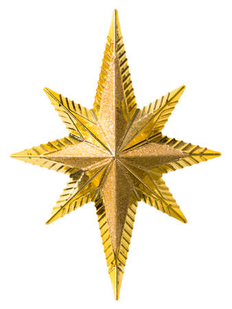 Christmas Golden Star Decoration Isolated over White Background, Holiday Golden Toy Decor