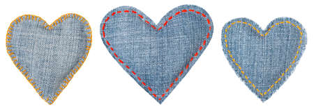 Jeans Heart, Patch with Stitches Seams, Set of Fabric Shapes Isolated over White Background, Love concept