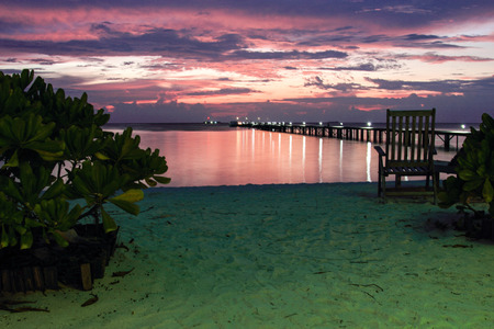 cay: Sunset in the Maldives.