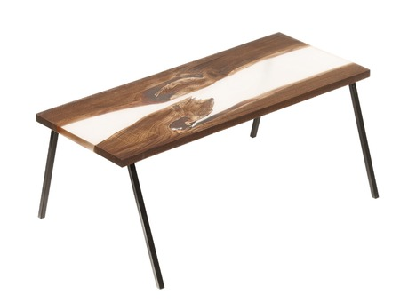 furniture part: Wood and epoxy table with metal legs on white isolated background