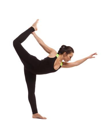 Fitness girl posing on white background isolated Stock Photo