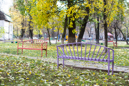 lonely bench in the park Stock Photo