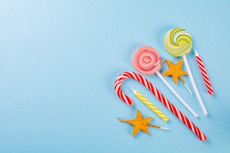 sweets on blue background Stock Photo