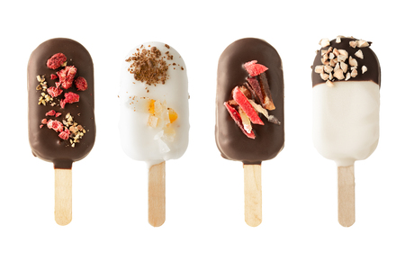 Different variants of cake popsice creams on white background 写真素材