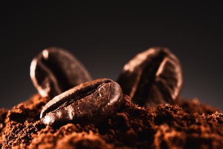 coffee beans on a dark brown background Stok Fotoğraf