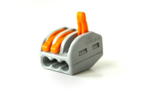 modern reusable electrical terminals on white background