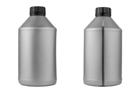 Two gray plastic oil canister on a white isolated background with place for text.