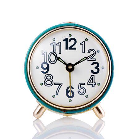 Blue retro alarm clock on a white isolated background, closeup. Stok Fotoğraf - 137893700