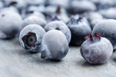Frozen blueberries close-up.