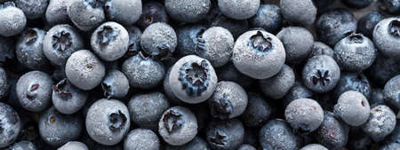 The texture of frozen blueberries. Top view 免版税图像