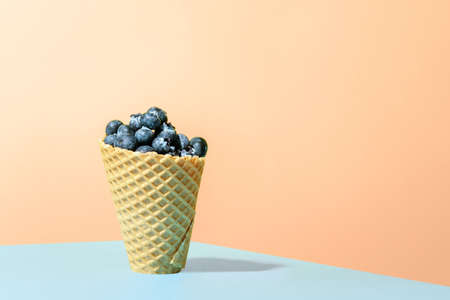 Frozen blueberries in waffle horn on orange background. Conceptual minimalism.