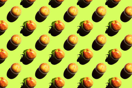 Seamless peach textures on green background. Top view