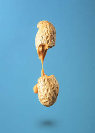 Peanut butter flows out of the broken peanuts on a blue background. 免版税图像
