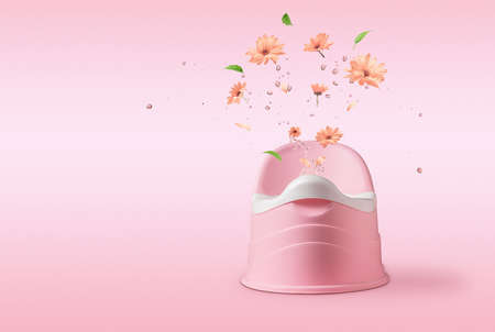 The concept of child rearing. Pink potty with splashes and flowers on a pink background.