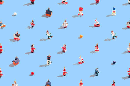 Creative christmas pattern of various christmas toys on a blue background.