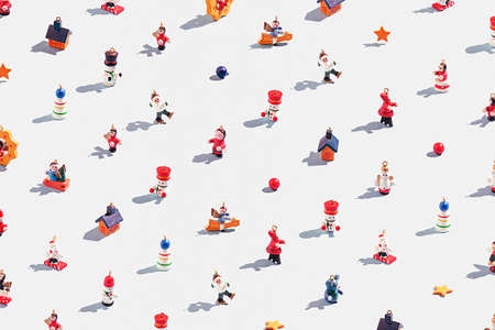 Creative christmas pattern of various christmas toys on a white background. Stock Photo