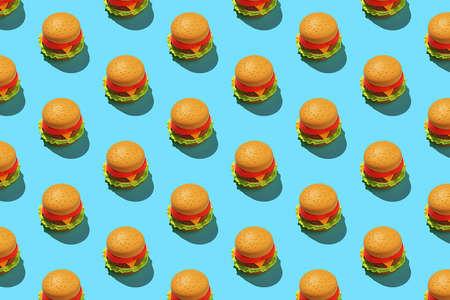 Minimalist hamburger pattern on blue background. 免版税图像