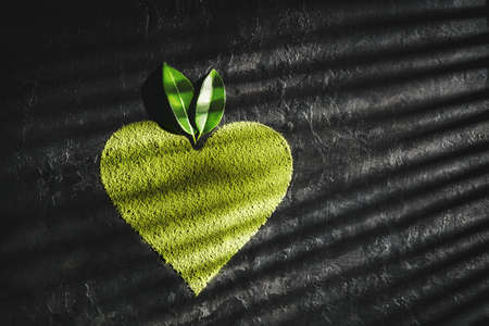 Powder matcha tea in the shape heart on a dark background with copy space. 免版税图像