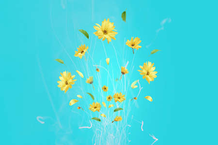 Bouquet of yellow flowers in the form of fireworks on a blue background.