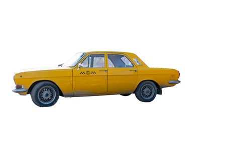 yellow taxi car on white background. chrome elements of the car body Archivio Fotografico